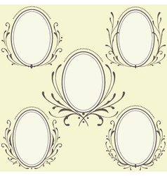 Oval Floral frames ornament vector image