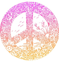 Pink peace symbol sketched doodles vector