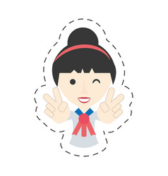 portrait japanese girl student uniform vector image