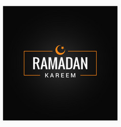 ramadan kareem logo on black background vector image