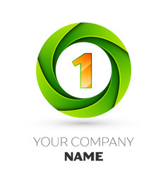 Realistic number one logo in the colorful circle vector