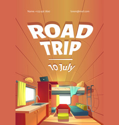 Road trip cartoon poster with camping trailer car vector