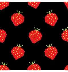 Seamless background of pixel-art strawberry vector