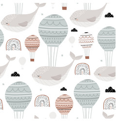 Seamless childish pattern with sleeping whales hot vector