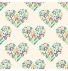 Seamless with floral hearts vector image
