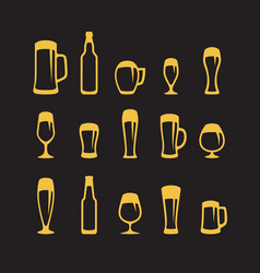 set of beer glasses and beer mugs icons on black vector image