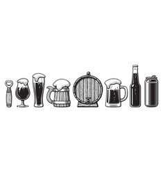 set of beer objects bottle opener glasses old vector image