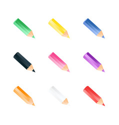 set of color small pencils realistic style vector image