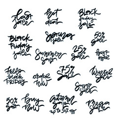 set of handwritten sale inscriptions vector image