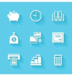 Set of white finance and money icons vector image