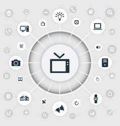 Set simple device icons vector
