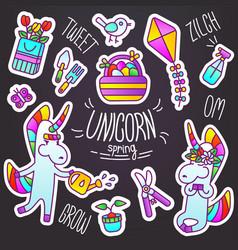 set stickers unicorn spring vector image