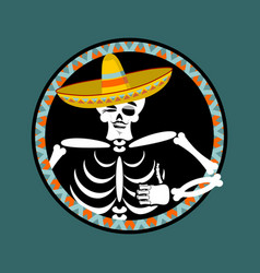 skeletons and sombrero day of the dead vector image