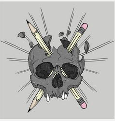 skull and pencils vector image