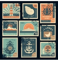 Stamps on the theme of travel by sea vector