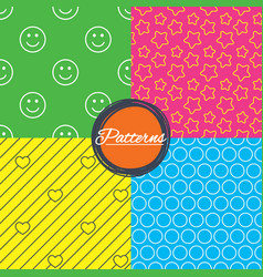 Stars hearts and smile circles textures vector