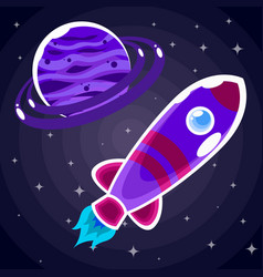 Sticker a purple space rocket with a porthole that vector