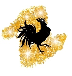Stylized black cock on a background of golden sand vector
