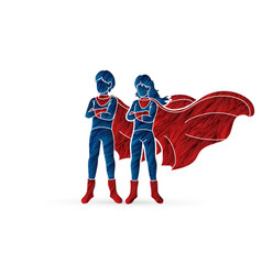super hero man and woman standing together vector image