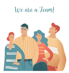 teamwork banner with portrait four young people vector image