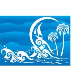 the dark blue sea vector image
