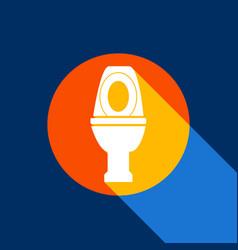 Toilet sign white icon on vector