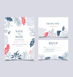 tropical wedding floral frame background vector image