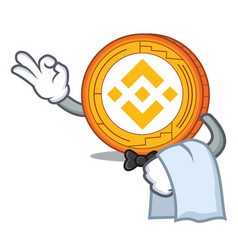 Waiter binance coin mascot catoon vector