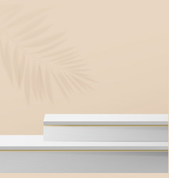 white and gold marble podium display composition vector image