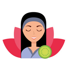 Woman skin care spa vector