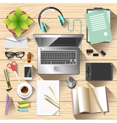 Workspace top view Office desk vector
