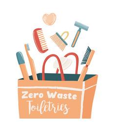Zero waste essentials falling into paper bag vector
