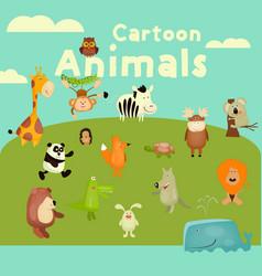 cartoon animals set vector image vector image