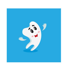 cute and happy shiny white tooth character looking vector image