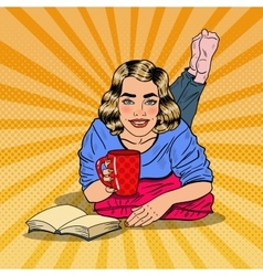 Pop Art Woman Drinking Coffee and Reading Book vector image