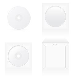 set of white blank cd disk and cover vector image