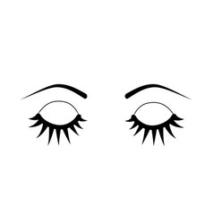 closed eyes eyelash extensions vector image