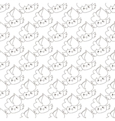 outline cupcakes seamless pattern Kawaii vector image vector image