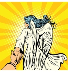 follow me woman angel with wings vector image