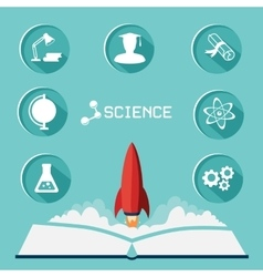 Science icon set and the rocket flies up vector image