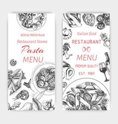 sketch - pasta card menu vector image vector image