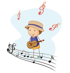 A kid playing with a guitar vector image