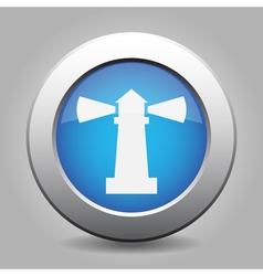 blue metallic button white lighthouse icon vector image vector image