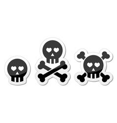 Cartoon skull with bones and hearts icon vector image