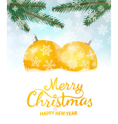 merry christmas and happy new year greeeting card vector image vector image