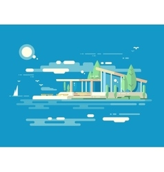 Modern house design flat style vector image vector image