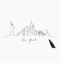 pen line silhouette new york vector image