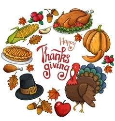 Round frame with thanksgiving icons vector
