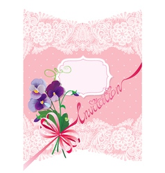 Valentines Day or Wedding card with pansy flowers vector image