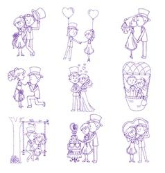 Wedding Doodles vector image vector image